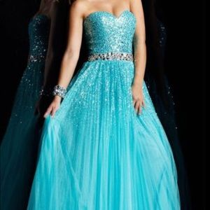 Sherri Hill Teal Gown with Pleated Skirt